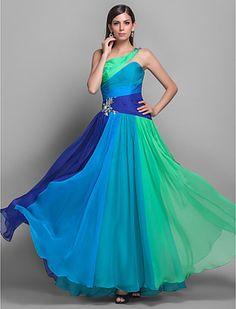 Bainha Um ombro Andar de comprimento Vestido Chiffon Multi-color - USD $ 249.99