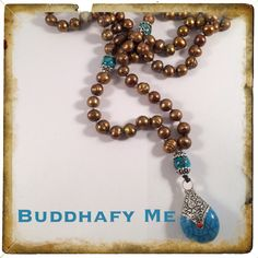 Potatoe Pearl Mala necklace with Turquoise tibetan bead pendant by BuddhafyMe
