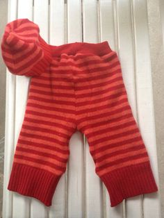 Medium Large Upcycled Red orange striped wool soaker by Jamnee, $25.00