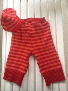 Medium Large Upcycled Red orange striped wool soaker by Jamnee, $25.00