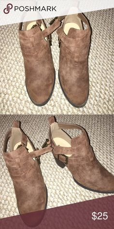 Brown faux booties Brown bootie JustFab Shoes Ankle Boots & Booties