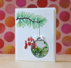 Mama Elephant Twinkle Towns ornament shaker card |  Laura Basset for Mama Elephant