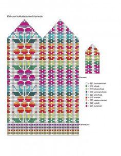 Stricken Knitted mittens and flower pattern – Stricken Knitted Mittens Pattern, Crochet Mittens, Filet Crochet, Knit Or Crochet, Knitting Charts, Knitting Stitches, Knitting Socks, Hand Knitting, Knitting Patterns