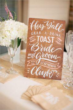 Hey Y'all -grab a drink bar sign #southernwedding #weddingsigns