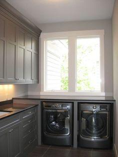 laundry room | gray cabinets: