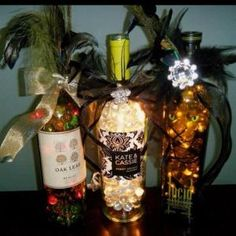 Wine bottle crafts with lights by MarylinJ