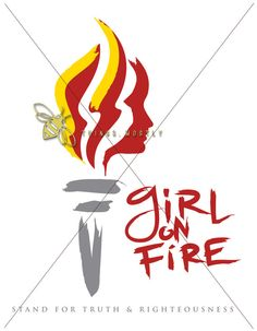 YW LDS Torch Girl on Fire DIGITAL File - she'll add your camp date and stake name