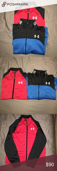 Lot Of 2 Under Armour Youth Zip-Up Sweatshirts Gently worn Under Armour Zip Up Sweatshirts. 1. Blue and Black Under Armour Storm Loose Fit Sweatshirt. 2. Red and Black Loose Fit Lightweight Zip Up Sweatshirt. There is a very very small snag in the front. It is not noticeable unless you are actually looking for the snag but I wanted to make sure I put that in my listing because I am very honest. Zippers on both shirts work. These have been very well taken care of. Sizes of both shirts are YLG…