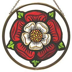 Decorative Hand Painted Stained Glass Window Sun Catcher/Roundel in an Elizabethan Tudor Rose Design. Stained Glass Paint, Stained Glass Panels, Tudor Rose Tattoos, Tudor Dynasty, Rose Window, English Heritage, English Tudor, Grisaille, Rose Design