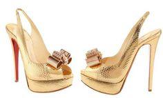 """Christian Louboutin """" Gold high heels"""" - HeelsFans.com"""
