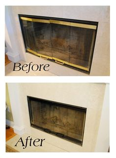 Like It Hot Tutorial for painting the brass exterior surround of a fireplace with high heat paint.Tutorial for painting the brass exterior surround of a fireplace with high heat paint. Fireplace Doors, Fireplace Update, Fireplace Remodel, Painting Fireplace, Fireplace Cover, Fireplace Ideas, Fireplace Trim, Brass Fireplace Makeover, Reface Fireplace