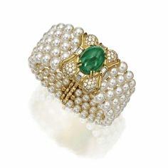 Cabochon emerald, cultured pearl and diamond bracelet, GIované   lot   Sotheby's