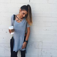 strappy bralette // long gray tee // black jeans
