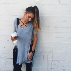 strappy bralette // long gray tee // black jeans