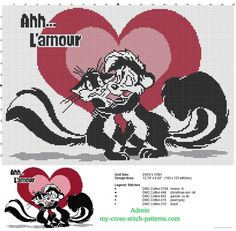 Pepé Le Pew Looney Tunes in love in red and pink heart cross stitch pattern