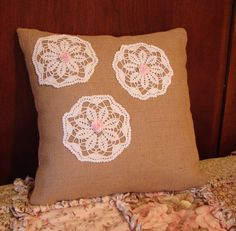 14 Inch Burlap Pillow With Doilies and Pink by MyCupRunnethOver14