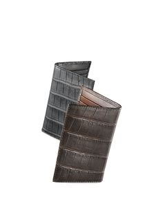 Alligator Bi-Fold Card Holder, Men's, Black - Neiman Marcus