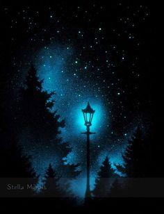 Lueur dans la nuit sombre lumière | Lampadaire en bois | Nuit étoilée peinture | plus de Stickers étoiles éclairés en option