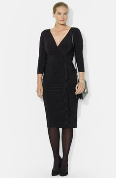 Lauren Ralph Lauren Side Ruffle Jersey Dress (Plus Size) available at #Nordstrom