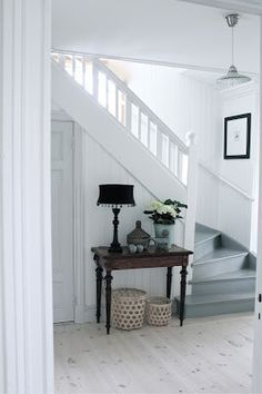 Just Pinned to How To Make It: Just Pinned to staircase: . Hallway Decorating, Interior Decorating, Interior Design, Painted Stairs, Painted Staircases, Scandinavian Home, House Stairs, Hall House, Stairways