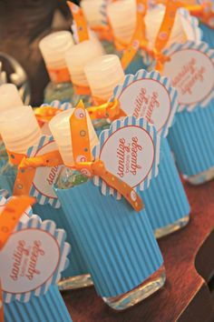 Sanitize before you Squeeze - printable baby shower favor tags - shoplemondrops on etsy