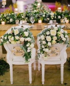 If your bride loves flowers, decorate the backs of wedding chairs with an abundance of blooms ~ Fabulous Day Weddings & Events