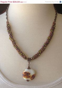 Valentines Day Sale Brown Beaded Necklace by GirlBurkeStudios, $31.50