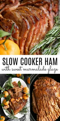Slow Cooker Ham with Marmalade Glaze #slowcooker #crockpot #ham #holidayham #christmas #marmalade #slowcookerham #hamrecipe Baked Chicken Tacos, Chicken Taco Recipes, Pork Recipes, Recipies, Homemade Mozzarella Sticks, Roast Beef Sliders, Crescent Roll Pizza, Baked Goat Cheese, Honey Glazed Ham