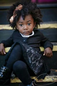 Lil' Model posing with her fine head of #natural #blackhair
