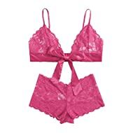 Amazon.com - Womens Bras, Panties & Lingerie Collections Lace Lingerie Set, Women Lingerie, Lace French Knickers, High Waisted Lingerie, Bra And Panty Sets, Lingerie Collection, Lace Bralette, Floral Lace, Christmas Time