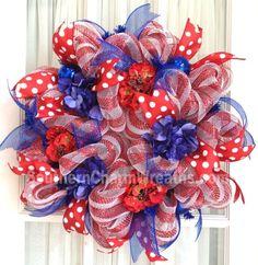 deco mesh ribbon | Deco Mesh Wreath Patriotic Hydrangeas & Ribbons by ...
