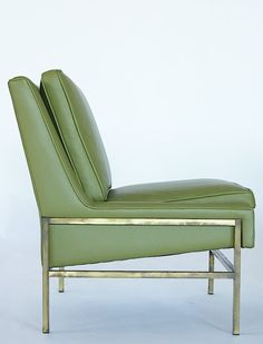 Harvey Probber; Brass and Leather Slipper Chair, c1950.