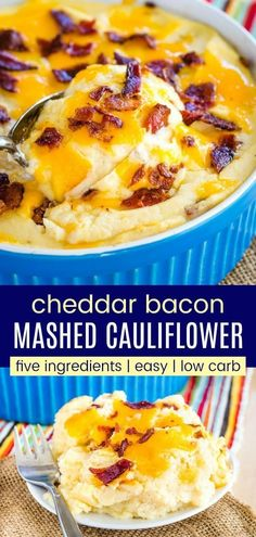 Cheesy Mashed Cauliflower with Bacon - take your usual veggie side dish to another level in this easy casserole with bacon and cheddar cheese. Five ingredients, seriously easy, and so delicious, the entire family will be going for seconds and thirds. Cauliflower Mashed Potatoes Keto, Cheesy Cauliflower Bake, Mashed Potato Recipes, Cauliflower Recipes, Cauliflower Vegetable, Side Dish Recipes, Veggie Recipes, Cheese Recipes, Side Dishes