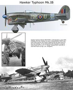 Hawker Typhoon Mk.IB Aircraft Photos, Ww2 Aircraft, Fighter Aircraft, Military Jets, Military Aircraft, Hawker Tempest, Hawker Typhoon, Airplane Art, Supermarine Spitfire