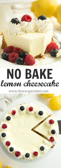 A smooth, extra creamy No Bake Lemon Cheesecake made with lemon juice and lemon zest and no artificial flavors! It's firm enough to stand up to being cut and is even great frozen! christmas make,no bake desserts Lemon Cheesecake Recipes, Lemon Desserts, Köstliche Desserts, Lemon Recipes, Sweet Recipes, Baking Recipes, Delicious Desserts, Dessert Recipes, Yummy Food
