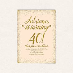 Pastel peach and gold 40th birthday digital by DiyPartyStudio