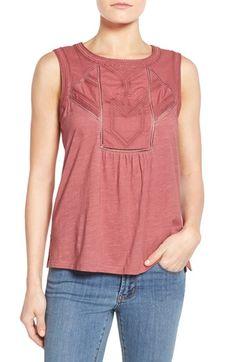 Caslon® Embroidered Lace Detail Cotton & Modal Tank (Regular & Petite)