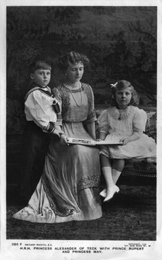 Princess Alice of Teck with her 2 surviving children, Prince Rupert and Princess May.