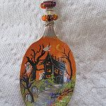 Halloween spoon on vintage silver by pbowes1111