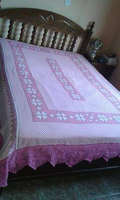 Bordado em tecido xadrez - Colcha (Detalhes sobre o bordado... Visitar)