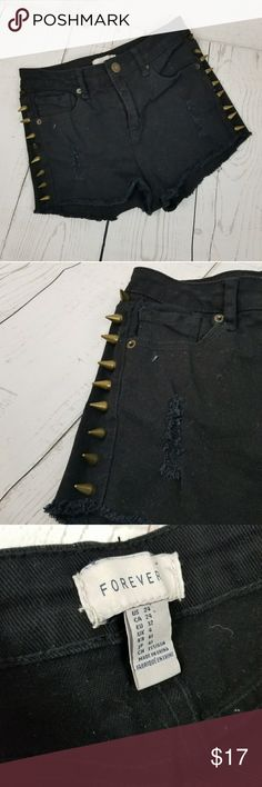 """Forever 21 Spiked Shorts size 24 Forever 21 Spiked Shorts size 24 Waist 12""""  Inseam 1.5""""  All measurements taken while lying flat   (ANA05) Forever 21 Shorts Jean Shorts"""