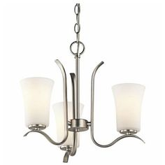 Kichler Lighting 43073NI Armida 3 Light Chandelier in Brushed Nickel