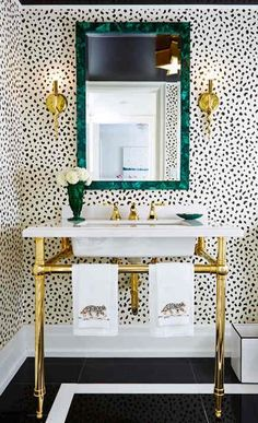 bathroom wallpaper - Thibaut Tanzania wallpaper, black on cream - Jessica Claire via Atticmag