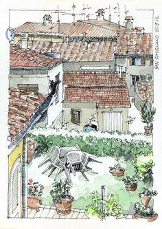 JR Sketches: Italia 6º Set 2012. 17x24, Pen & Watercolor