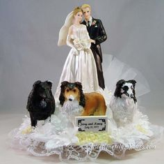Customized dogs with bride and groom wedding cake topper. Shown with 3 shelties in white with yellow accents. Personalized hair color changes. Includes name and wedding date plate.  http://www.affectionately-yours.com/yours-mine-and-ours-wedding-cake-topper/