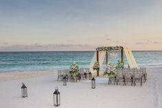 Have an elegant ceremony on the beach right before sunset.#DreamsTulum #Mexico #Destinationwedding