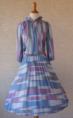 Vintage 1970s Gray Blue and Purple Dress by Ms. by CeeLostInTime
