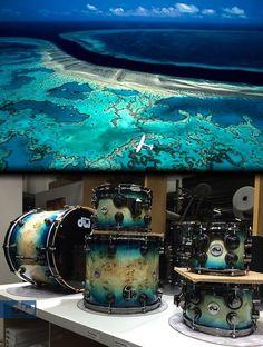 Polynesia-themed DW drum set