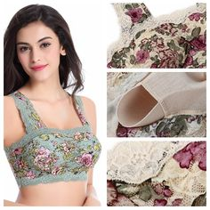 Hot Sexy Floral Printing Lace Hem Bras Breathable Wireless Vest Bra - NewChic