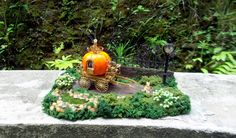 Pumpkin coach Cinderella magical fairy garden with mouse lamppost and pond at the 1/48 scale